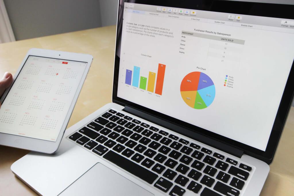Ordenador mostrando estadísticas e indicadores de desempeño