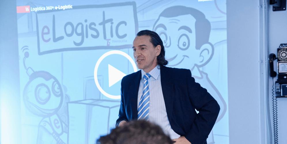 Roberto Díaz. de Transgesa, explicando eLogistic